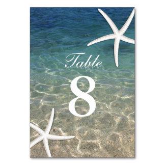 Starfish Summer Beach Wedding Table Numbers Card