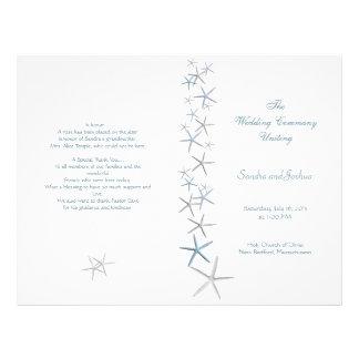"Starfish, Summer Wedding Program Template, Folded 8.5"" X 11"" Flyer"