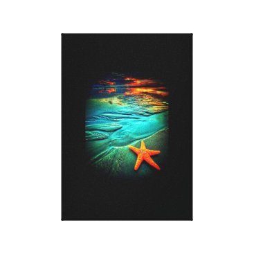 Beach Themed starfish sunset beach canvas