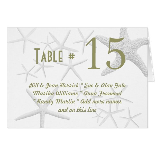 Starfish Table Number Cards, Green text