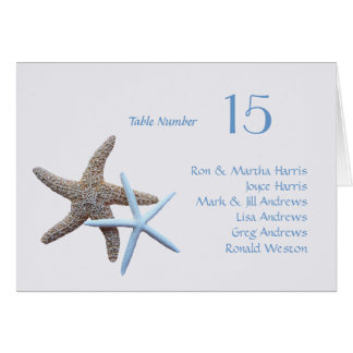 Starfish Table Seating All Names Folded Card