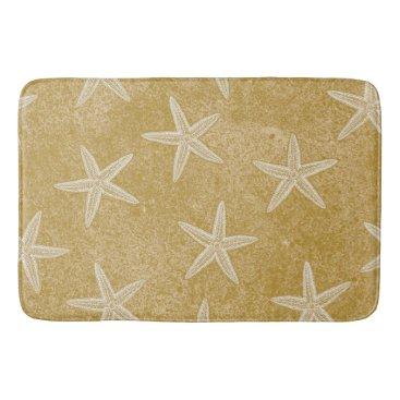 Beach Themed Starfish Tan Sand Bathroom Mat