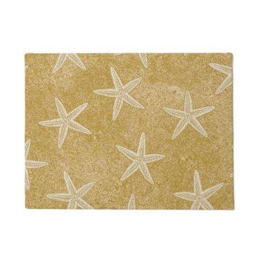 Beach Themed Starfish Tan Sand Doormat