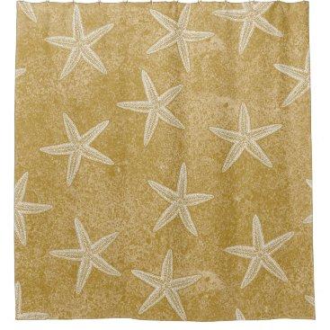 Beach Themed Starfish Tan Sand Shower Curtain
