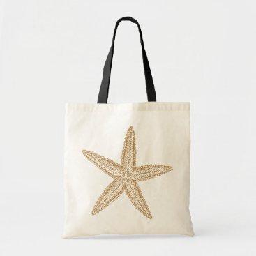 Beach Themed Starfish Tan Sand Tote Bag