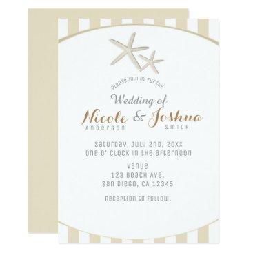 Beach Themed Starfish Tan Striped Modern Minimal Beach Wedding Card