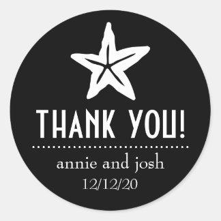 Starfish Thank You Labels (Black)