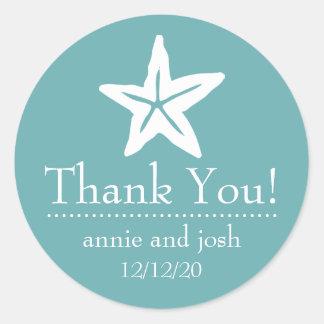 Starfish Thank You Labels (Sea Foam) Round Sticker