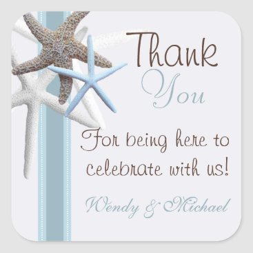 Beach Themed Starfish Thank You Personalized Wedding Sticker