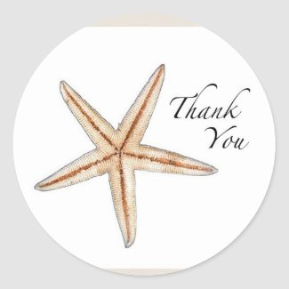 Starfish thank you stickers