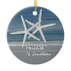 Starfish Together At Christmas Ornament, 2 ornament