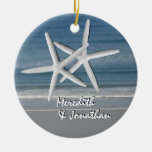 Starfish Together At Christmas Ornament, 2 Double-Sided Ceramic Round Christmas Ornament