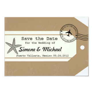 Starfish travel theme Luggage Tag Save the Date Card