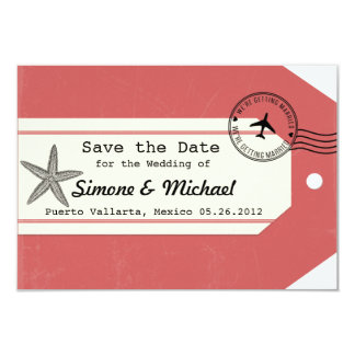 Starfish travel theme Luggage Tag Save the Date 3.5x5 Paper Invitation Card