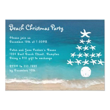 Starfish Tree Beach Christmas Party Invitation