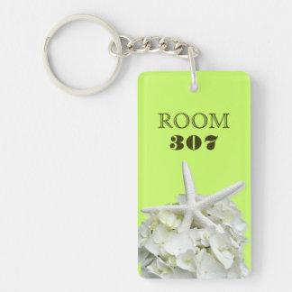 Starfish Tropical Lime Room Number Custom Key Ring Keychain