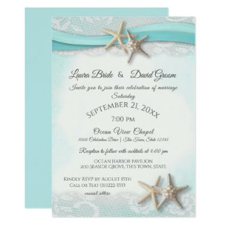 Starfish Tropical Vintage Beach Turquoise Wedding Invitation