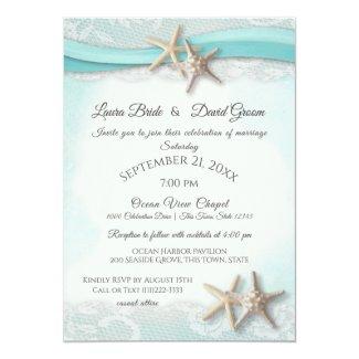 Starfish Tropical Vintage Beach Turquoise Wedding Invitation