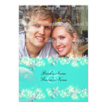 Starfish turquoise blue white wedding invitation