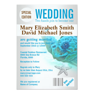Starfish turtle beach wedding magazine PERSONALIZE Card