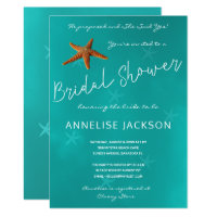 Starfish under the sea ocean blue bridal shower invitation