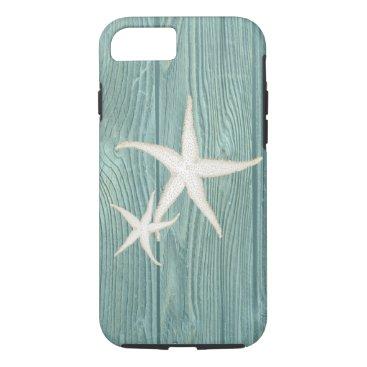Beach Themed Starfish Vintage Aqua Wood Beach iPhone 7 Case
