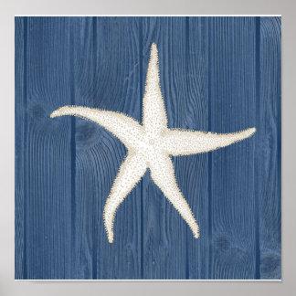 Starfish Vintage Blue Wood Beach Poster