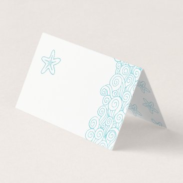 Starfish wave swirls aqua beach guest place cards