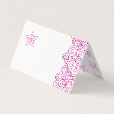 Beach Themed Starfish wave swirls pink beach guest place cards
