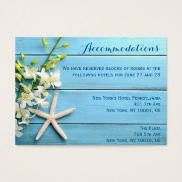 Professional Business Starfish Wedding Accommodation Cards With Orchids