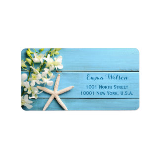 Starfish Wedding Address Labels With Orchids