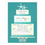 "Starfish Wedding Cake Bridal Shower Invitations 5"" X 7"" Invitation Card"