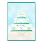 "Starfish Wedding Cake Bridal Shower Invitations 4.5"" X 6.25"" Invitation Card"