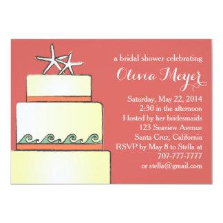 Starfish Wedding Cake Bridal Shower Invites Coral