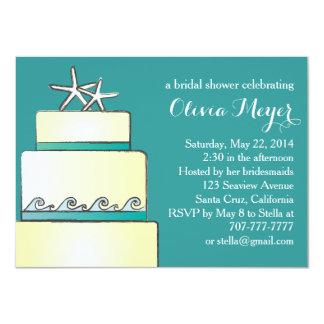 Starfish Wedding Cake Bridal Shower Invites Teal