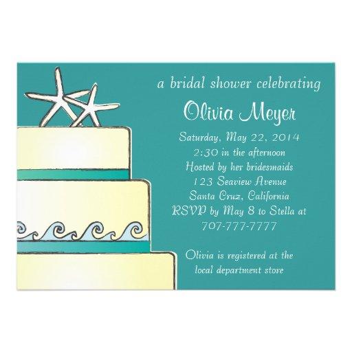 Shopping Starfish Wedding Cake Bridal Shower Invites ...