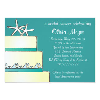Starfish Wedding Cake Bridal Shower Invites - Teal