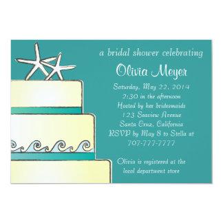 "Starfish Wedding Cake Bridal Shower Invites - Teal 5"" X 7"" Invitation Card"