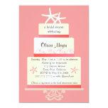 "Starfish Wedding Cake Invitations - Coral 5"" X 7"" Invitation Card"