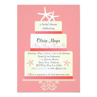 Starfish Wedding Cake Invitations - Coral