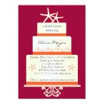 Starfish Wedding Cake Invitations -Pink and Orange