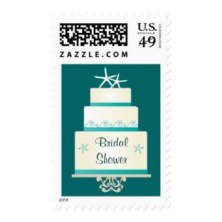 Starfish Wedding Cake - Teal Postage Stamps