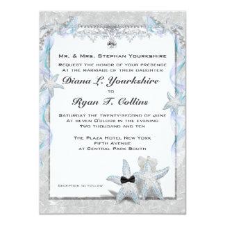 "Starfish Wedding Couple  4.5"" x 6.25"" 4.5x6.25 Paper Invitation Card"