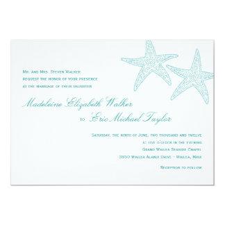 "Starfish Wedding Invitation - Turquoise 5"" X 7"" Invitation Card"