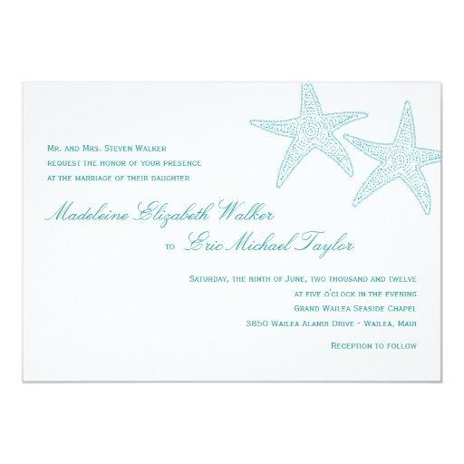 Starfish Wedding Invitation - Turquoise