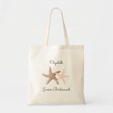 Beach Themed Starfish Wedding Junior Bridesmaid Tote Bag