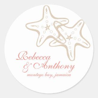 starfish wedding label classic round sticker