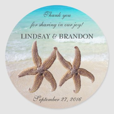 Beach Themed Starfish Wedding Ocean Thank You Favor Labels