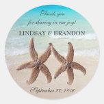Starfish Wedding Ocean Thank You Favor Labels Classic Round Sticker
