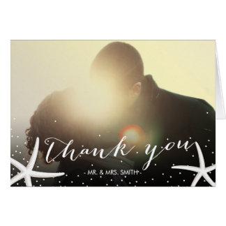 Starfish Wedding Photo Elegant Script Thank You Card